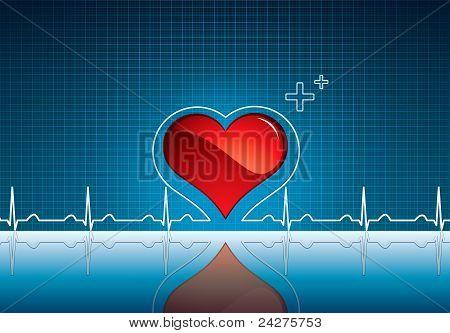 Coração e pulsação símbolo na superfície reflexiva