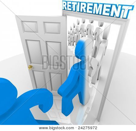 A line of people  and workers stepping through a doorway marked Retirement to retire and change color, becoming transformed to represent the transition out of the workforce