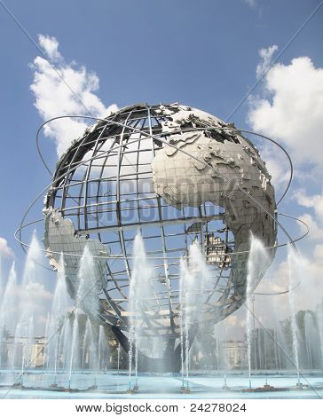 NEW YORK - AUG 5: The Unisphere in Queens, New York on August 5, 2011.  A theme symbol of the 1964 World's Fair, dedicated to