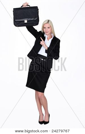 Woman pointing to briefcase