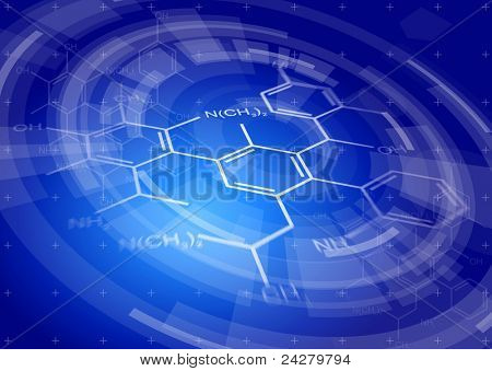 Blue radial technology background & chemical formulas. Bitmap copy my vector ID 81171733