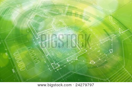 Green abstract house plan. Bitmap copy my vector ID 81985189
