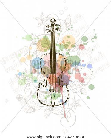 Violin, music sheets on the color paint background of stylized ornament &  orchid flowers. Bitmap copy my vector ID 70601989