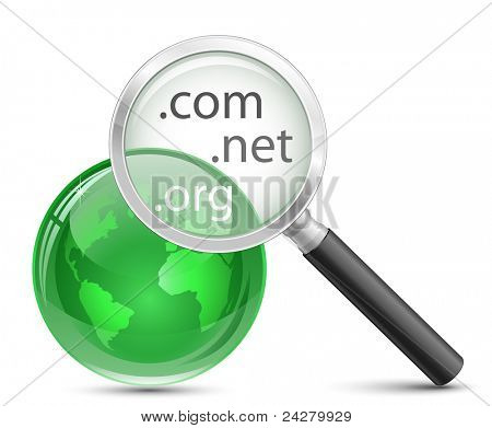 Domain-Suche-Vektor-Symbol. .com .net .org Domain finder