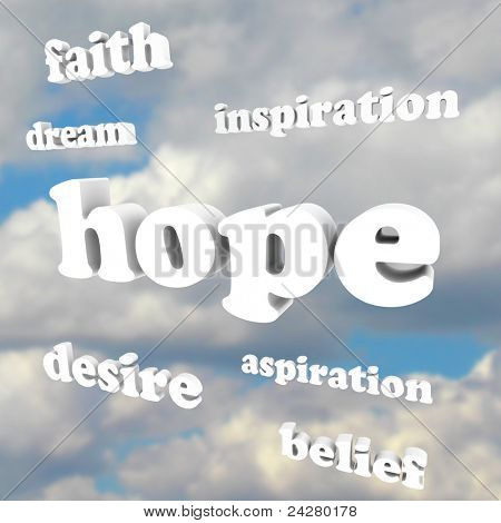 Several words in the sky representing hope, faith, belief, aspiration, inspiration, dreams and other feelings of positivity and good attitude necessary for achieving success in life