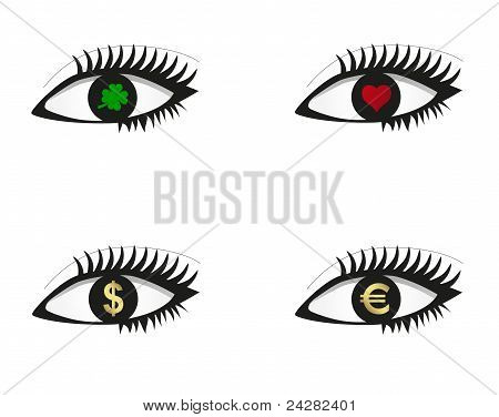 Eye Set With Money, Love And Luck Icons