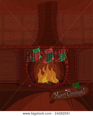 Christmas Vector Fireplace