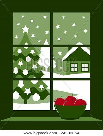 Christmas Tree Outside Window