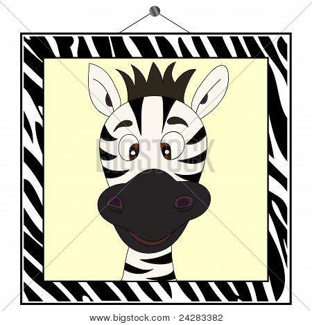 Zebra Portrait In Zebra Frame