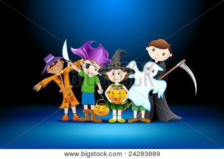 kids in costume for halloween
