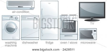 Icon Set - Home Equipment, White Goods. Aqua Style. Vector