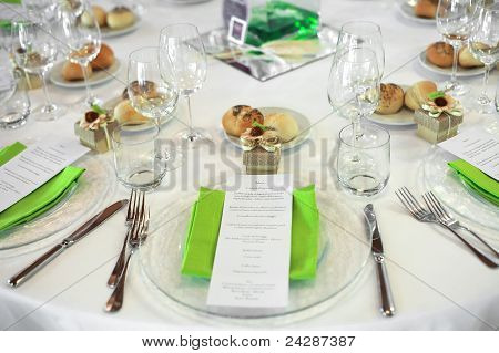menu on wedding table
