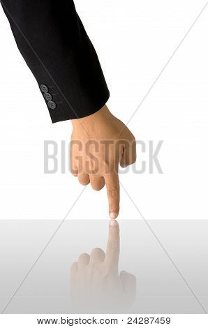 Index Finger On White Background With Reflect