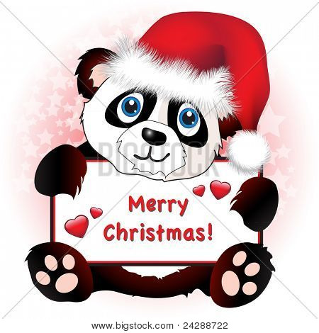 A cute cartoon panda wearing a Santa hat holding a banner with hearts and Merry Christmas wishes. Subtle star background. Easily editable for insertion of your own text. EPS10 vector format
