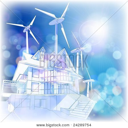 Ecology concept: wind-driven generators & house with solar power systems.  Bitmap copy my vector ID 65081101