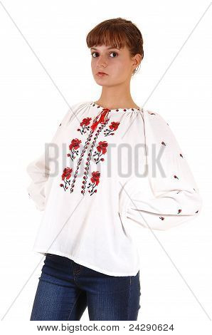 Teenager Girl In White Blouse.