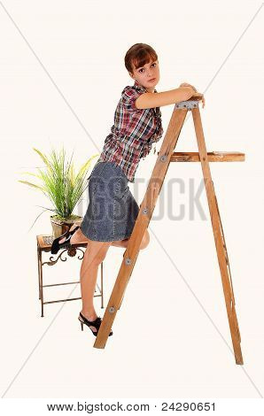 Girl Standing On Stepladder.