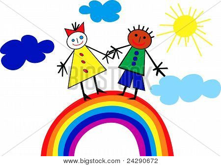 Children Riding On A Rainbow.eps