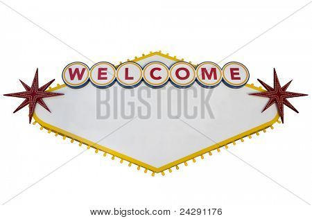 Blank Las Vegas Sign Isolated on White