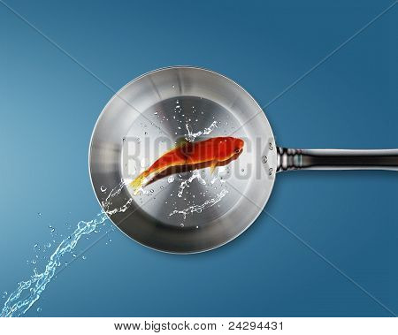 Golden Fish Jumping To Frying Pan