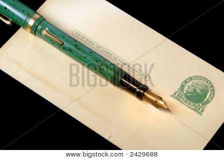 Grungy Vintage Three Cent Postcard And Fountain Pen
