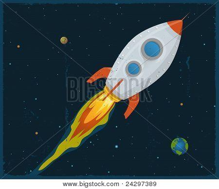 Foguete explodir através do espaço