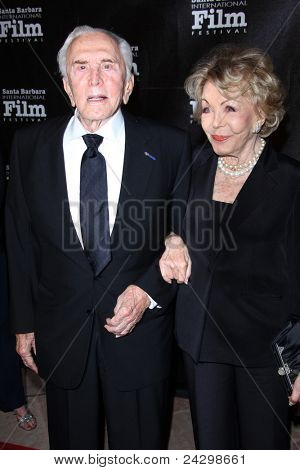 SANTA BARBARA, CA - OCT 13:  Kirk Douglas; Anne Buydens arriving at the SBIFF's 2011 Kirk Douglas Award For Excellence In Film  at the Biltmore Four Seasons Hotel on October 13, 2011 in Santa Barbara, CA