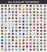 All Flags Of The World In Alphabetical Order. Round, Circle Glossy Style poster