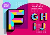 Vector Mosaic Typeset. Textured Geometric Type. Trendy Polygonal Typography For Music Poster, Club F poster
