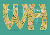 Welcome Home. Yellow Letters W And H With Folk Floral Decor - Graceful Watercolor Flowers And Hearts poster