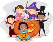 stock photo of halloween characters  - Illustration of Kids Dressed in Various Halloween Costumes - JPG
