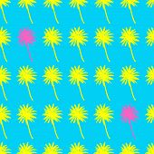 Palm Trees Seamless Pattern. Tropical Summer Background. Yellow Pink Palm On Blue Background. Exotic poster