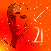 Постер, плакат: Sign Of Zodiac Sagittarius Girl Is Fortuneteller With Third Eye Constellation Sign Of Zodiac And