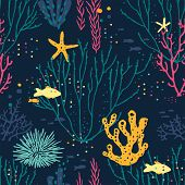 Seamless Hand Drawn Pattern With Corals, Fishes, Sea Urchin And Starfishes. Vector Colorful Illustra poster