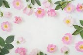 Round Frame Wreath Pattern With Roses, Pink Flower Buds, Branches And Leaves Isolated On White Backg poster