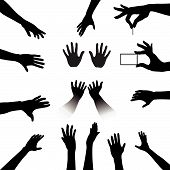 stock photo of groping  - Reach out and grab this People Hands Silhouettes Set a collection for all your reach touch hold needs - JPG