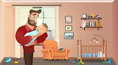 Father Holding Son At Home Interior Child Room. Baby Sleep On Fathers Hands. Vector Illustration Of  poster