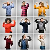 Group of mixed people, women and men showing biceps expressing strength and gym concept, healthy lif poster
