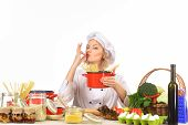 Food Preparation With Vegetables. Cook Preparing Delicious Food In Kitchen. Healthy Food Cooking, Ve poster
