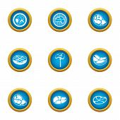 Juicy Meat Icons Set. Flat Set Of 9 Juicy Meat Vector Icons For Web Isolated On White Background poster