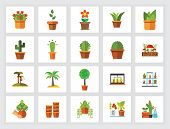 Potted Plants Icon Set. Can Be Used For Topics Like Horticulture, Home Decoration, Houseplant, Botan poster