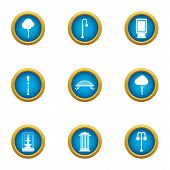 Urban Infrastructure Icons Set. Flat Set Of 9 Urban Infrastructure Vector Icons For Web Isolated On  poster