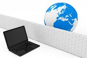 Firewall Concept. Laptop Security By Firewall In Global Network On A White Background. 3d Rendering poster