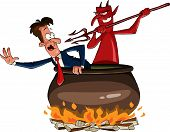 stock photo of hade  - Infernal cauldron with the devil vector illustration - JPG