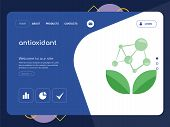 Quality One Page Antioxidant Website Template Vector Eps, Modern Web Design With Flat Ui Elements An poster