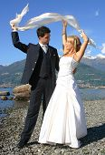 stock photo of married couple  - Series of Wedding pictures the couple just married - JPG