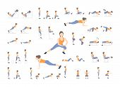 Set Of Sport Exercises. Exercises With Free Weight. Exercises In A Gym. Illustration Of An Active Li poster