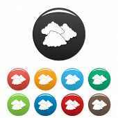 Dark Cloudy Icon. Simple Illustration Of Dark Cloudy Vector Icons Set Color Isolated On White poster