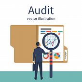 Auditing Concepts. Auditor With Magnifying Glass In Hand During Examination Of Financial Report. Tax poster
