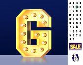 Letter G From Alphabet. Glowing Letter G. Bulb Type G. 3d Illuminated Light Bulb Symbol Letter G. Re poster